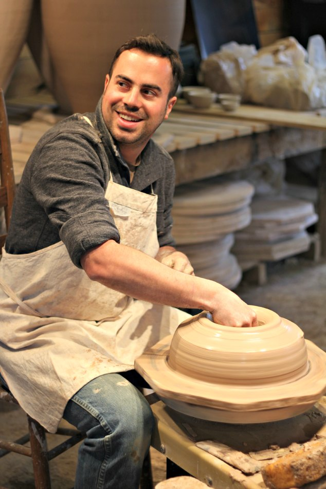 Alex Matisse starting to throw a new post at East Fork. www.handmadenc.com