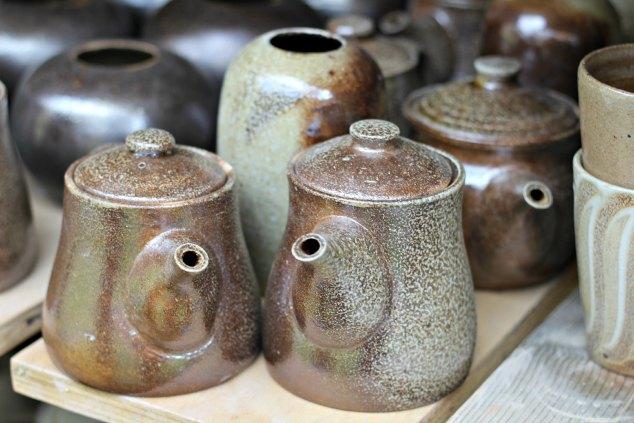 Completed tea pots at East Fork. www.handmadenc.com